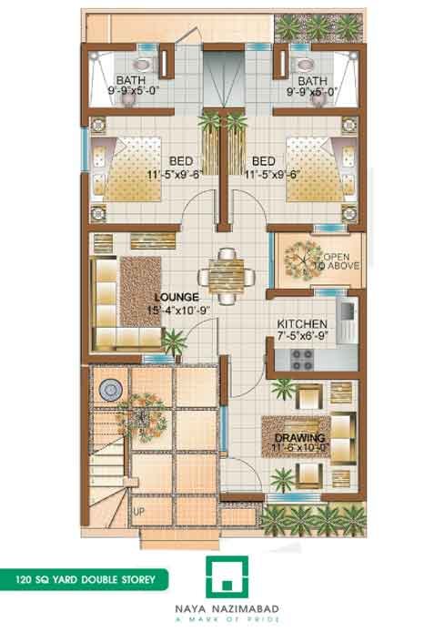 Front Elevation Of 120 Sq Yards House : Bungalows naya nazimabad