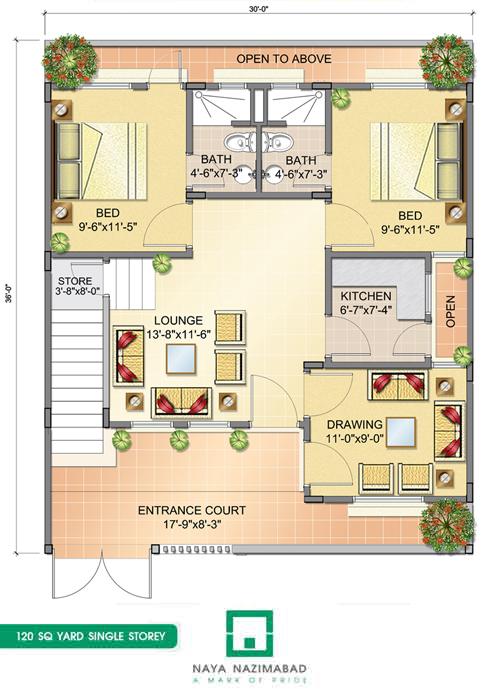 Bungalows naya nazimabad for 120 square yards floor plan