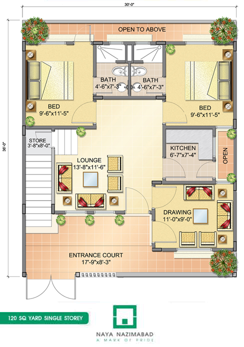 Bungalows naya nazimabad for 120 square yards floor plan